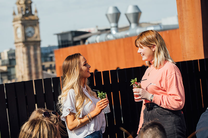 Beckie and Emma rooftop bar babel 800x533 HF
